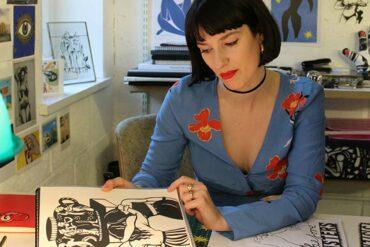 Poppy Chancellor at work in her studio